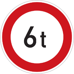 Traffic sign of Czech: Vehicles heavier than indicated prohibited