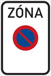 Traffic sign of Czech: Begin of zone where parking is prohibited