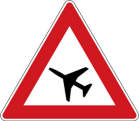 Traffic sign of Czech: Warning for low-flying aircrafts