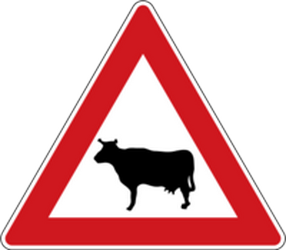 Traffic sign of Czech: Warning for cattle on the road