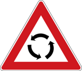 Traffic sign of Czech: Warning for a roundabout