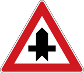 Traffic sign of Czech: Warning for a crossroad side roads on the left and right