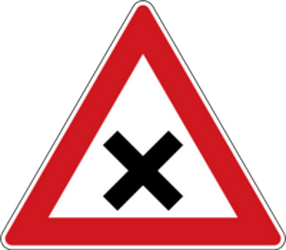Traffic sign of Czech: Warning for an uncontrolled crossroad