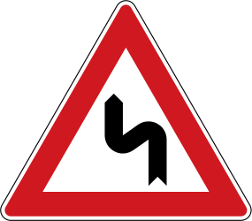 Traffic sign of Czech: Warning for a double curve, first left then right