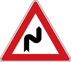 Traffic sign of Czech: Warning for a double curve, first right then left