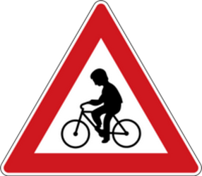 Traffic sign of Czech: Warning for cyclists