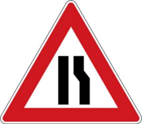 Traffic sign of Czech: Warning for a road narrowing on the right