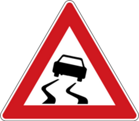 Traffic sign of Czech: Warning for a slippery road surface