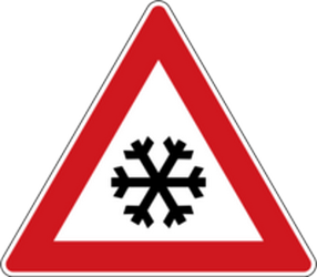 Traffic sign of Czech: Warning for snow and sleet