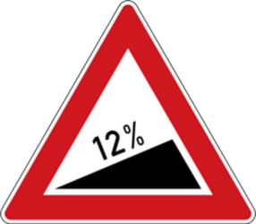 Traffic sign of Czech: Warning for a steep ascent