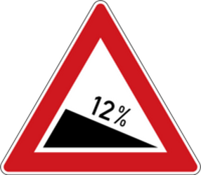Traffic sign of Czech: Warning for a steep descent
