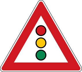 Traffic sign of Czech: Warning for a traffic light