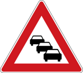Traffic sign of Czech: Warning for traffic jams
