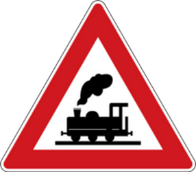 Traffic sign of Czech: Warning for a railroad crossing without barriers