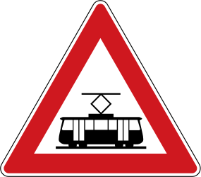 Traffic sign of Czech: Warning for trams