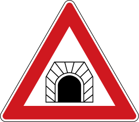 Traffic sign of Czech: Warning for a tunnel