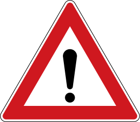 Traffic sign of Czech: Warning for a danger with no specific traffic sign
