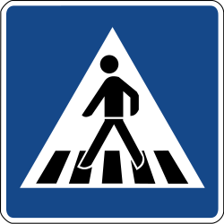 Traffic sign of Germany: Crossing for pedestrians