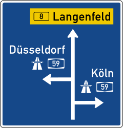Traffic sign of Germany: Information about the destination of the ramp