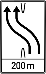 Traffic sign of Germany: Temporary change in the direction of the lanes