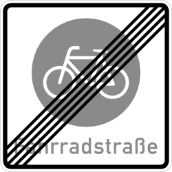 Traffic sign of Germany: End of the lane for cyclists