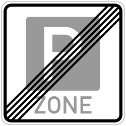 Traffic sign of Germany: End of the parking zone