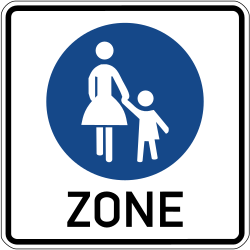 Traffic sign of Germany: Begin of a zone for pedestrians