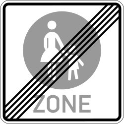 Traffic sign of Germany: End of the zone for pedestrians