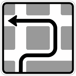 Traffic sign of Germany: Route to be followed in order to turn left