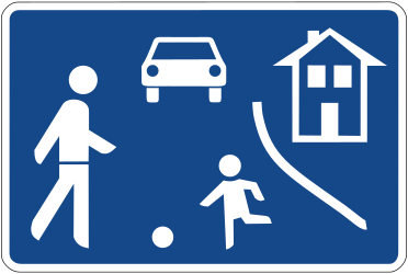 Traffic sign of Germany: Begin of a residential area
