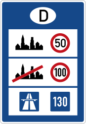 Traffic sign of Germany: National speed limits