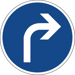 Traffic sign of Germany: Turning right mandatory