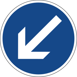 Traffic sign of Germany: Passing left mandatory
