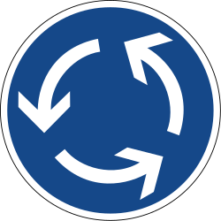 Traffic sign of Germany: Mandatory direction of the roundabout