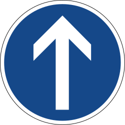 Traffic sign of Germany: Driving straight ahead mandatory