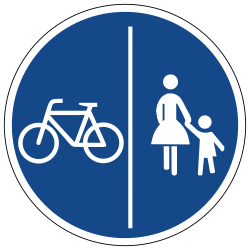 Traffic sign of Germany: Mandatory divided path for pedestrians and cyclists
