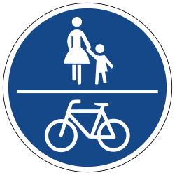 Traffic sign of Germany: Mandatory shared path for pedestrians and cyclists