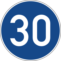 Traffic sign of Germany: Driving faster than indicated mandatory (minimum speed)