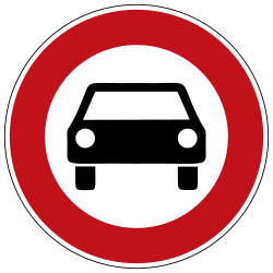 Traffic sign of Germany: Cars prohibited