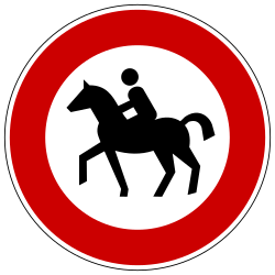 Traffic sign of Germany: Equestrians prohibited