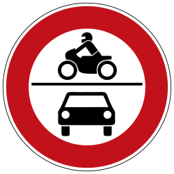 Traffic sign of Germany: Motorcycles and cars prohibited