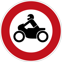 Traffic sign of Germany: Motorcycles prohibited