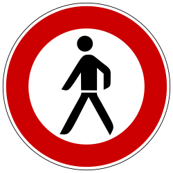 Traffic sign of Germany: Pedestrians prohibited