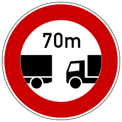 Traffic sign of Germany: Leaving less distance than indicated prohibited