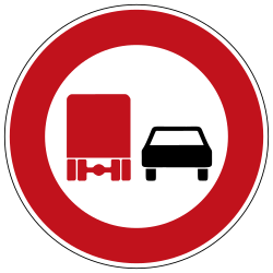 Traffic sign of Germany: Overtaking prohibited for trucks