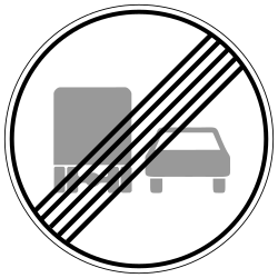 Traffic sign of Germany: End of the overtaking prohibition for trucks