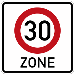 Traffic sign of Germany: Begin of a zone with speed limit