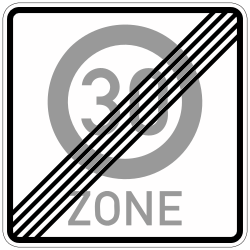 Traffic sign of Germany: End of the zone with speed limit