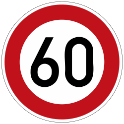Traffic sign of Germany: Begin of a speed limit