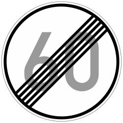 Traffic sign of Germany: End of the speed limit